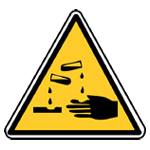 Výstraha, riziko koroze nebo poleptání